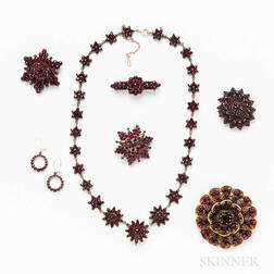 Group of Garnet and Costume Jewelry