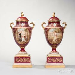 Pair of Vienna Porcelain Vases and Covers