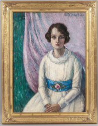 Mary Berkeley Sawtelle (American, 19th/20th Century)      Girl with a Blue Sash