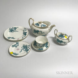 "Wedgwood Blue ""Chinese Tigers"" Porcelain Tea Service for Six"