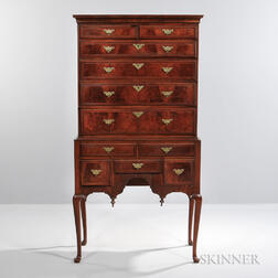 Inlaid Walnut Veneer and Maple High Chest of Drawers
