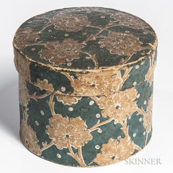 Round Wallpaper Box with Blue Floral Print