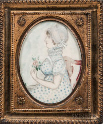 American School, Late 18th Century      Portrait of a Lady in a Printed Dress