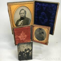 Cased Quarter-plate Ambrotype and Two Small Tintypes.     Estimate $20-200