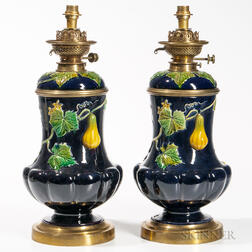 Pair of Majolica Lamp Bases