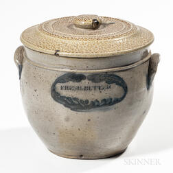 "Cobalt-decorated ""FRESH BUTTER"" Stoneware Jar"