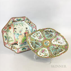 Rose Medallion Dish with Maritime Scenes and a Famille Rose Octagonal Plate