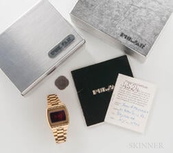 "Pulsar 18kt Gold ""Time Computer"" Wristwatch with Box and Papers"