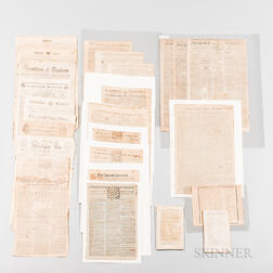 Thirty-two 18th Century American Newspapers and Three Related Items