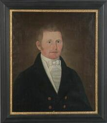 Attributed to John Brewster, Jr. (New England and New York, 1766-1854)  Portrait of a Man in Blue.