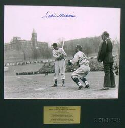 Ted Williams Autographed Photograph Ted Williams First at Bat in a Red Sox Uniform April 14, 1939, vs. Holy Cr...