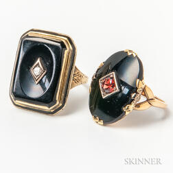 14kt Gold, Onyx, and Diamond Ring and a 10kt Gold, Jet, and Garnet Ring