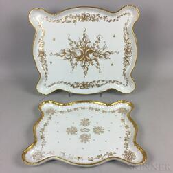 Two French Hand-painted Porcelain Trays