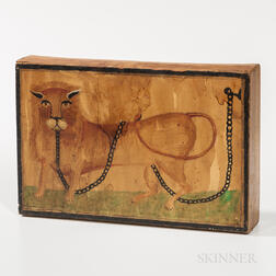 Yellow-painted Box with Lion-decorated Lid