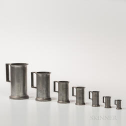 Set of Seven Graduated Pewter Measures