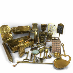 Group of Brass Kitchen and Domestic Items