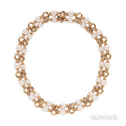 18kt Gold and Cultured Pearl Choker, Bulgari