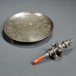 English Sterling Silver Salver and Rattle