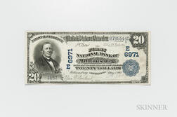 1902 The First National Bank of Williamsburg Plain Back $20 Note