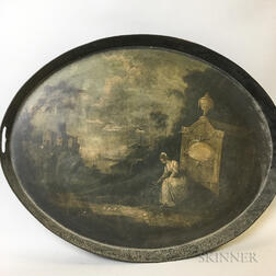 Paint-decorated Tin Tray Depicting a Memorial to George Washington