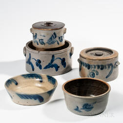 Five Cobalt-decorated Pennsylvania Stoneware Items
