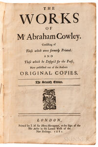 Cowley, Abraham (1618-1667) The Works.