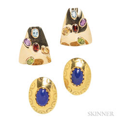 Two Pairs of 14kt Gold Earrings