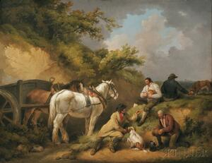 George Morland (British, 1763-1804)      The Labourers' Luncheon