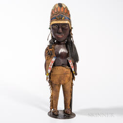 Folk Carved Indian Figure