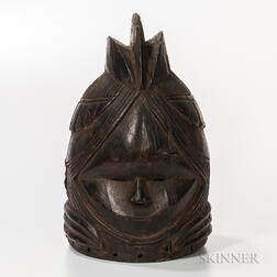 Mende-style Carved Wood Helmet Mask