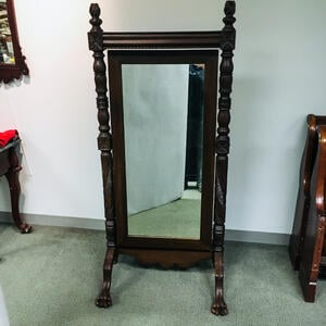 Late Federal Carved Mahogany Cheval Mirror