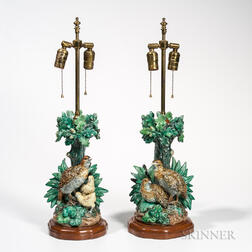 Pair of Hugo Lonitz Majolica Lamp Bases