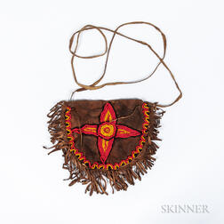 Bead-decorated Hide Bag