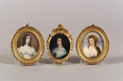 Three Portrait Miniatures on Ivory of  Elegant Ladies