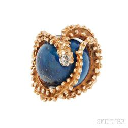 18kt Gold, Lapis, and Diamond Ring, Erwin Pearl