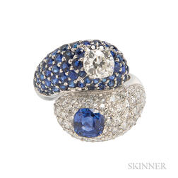 18kt White Gold, Sapphire, and Diamond Bypass Ring