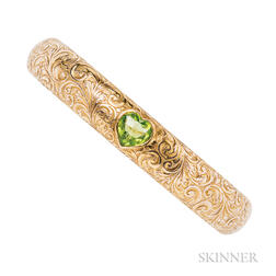 Art Nouveau 14kt Gold and Peridot Bangle Bracelet, Riker Bros.