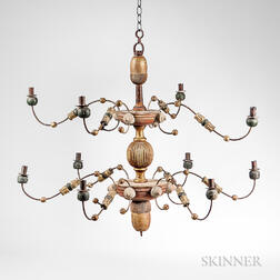 Carved, Painted, and Gilded Wood and Wire Chandelier