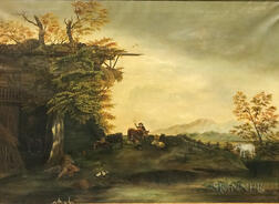 British School, 19th Century      Rustic Landscape with Family and Farmyard Animals