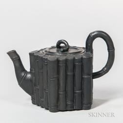 Non-factory Wedgwood & Bentley-type Black Basalt Bamboo Teapot and Cover