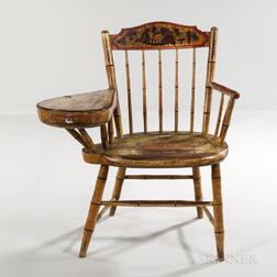 Faux Tiger Maple Grain-painted and Paint-decorated Writing-arm Windsor Chair
