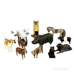 Twelve Carved and Painted Wood Animals