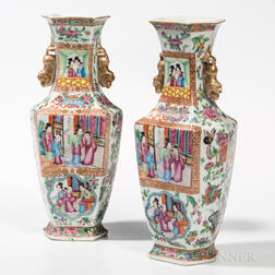 Pair of Rose Medallion Export Porcelain Vases