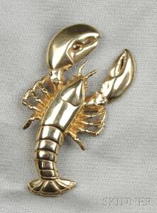 14kt Gold Lobster Brooch