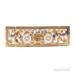 Arts and Crafts 14kt Gold Brooch