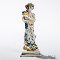 Pratt-type Pearlware Figure with Cornucopia