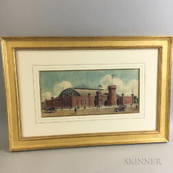 Framed Architectural Watercolor Rendering of the Armory for NGC in Denver