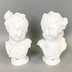 Pair of Continental Porcelain Busts of a Boy and Girl