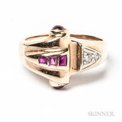 Retro 14kt Rose Gold, Ruby, and Diamond Ring