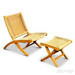 Wegner-style Beech Folding Rope Chair and Ottoman.     Estimate $20-200